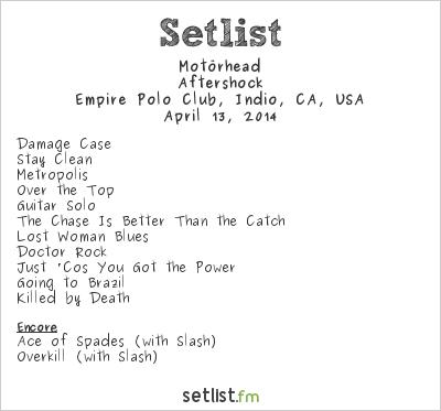 Motörhead Setlist Coachella Festival 2014 2014, Aftershock Tour