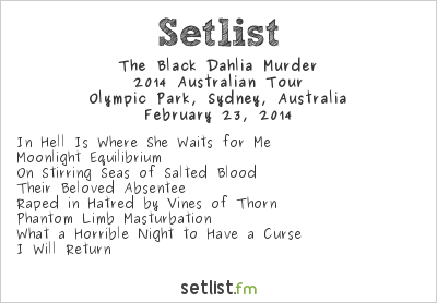 The Black Dahlia Murder Setlist Soundwave Sydney 2014 2014, 2014 Australian Tour