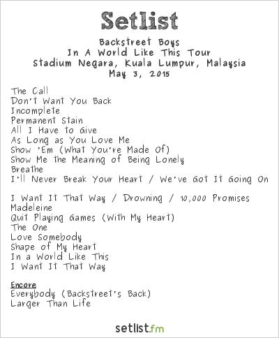 Backstreet Boys Setlist Stadium Negara, Kuala Lumpur, Malaysia 2015, In a World Like This Tour