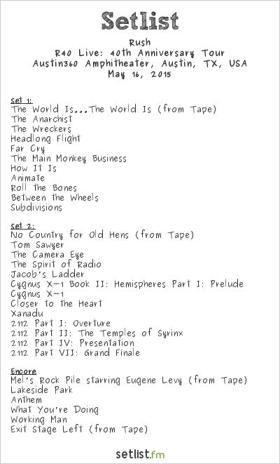 Rush Setlist Austin360 Amphitheater, Austin, TX, USA 2015, R40 Live: 40th Anniversary Tour