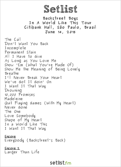 Backstreet Boys Setlist Citibank Hall, São Paulo, Brazil 2015, In a World Like This Tour