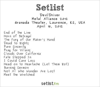 DevilDriver Setlist Granada Theater, Lawrence, KS, USA, Metal Alliance 2012