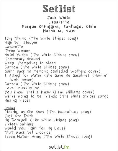 Jack White at Lollapalooza Chile 2015 Setlist