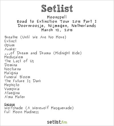 Moonspell Setlist Doornroosje, Nijmegen, Netherlands 2015