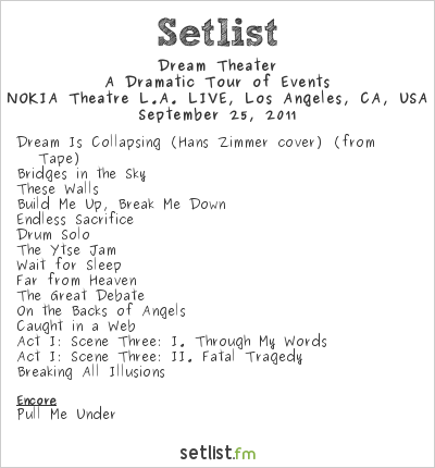 Dream Theater Setlist NOKIA Theatre L.A. LIVE, Los Angeles, CA, USA 2011, A Dramatic Turn of Events