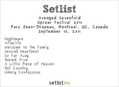Avenged Sevenfold Setlist Parc Jean-Drapeau, Montreal, QC, Canada, Uproar Festival 2011