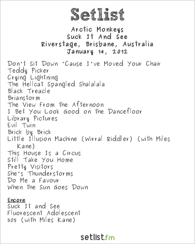 Arctic Monkeys Setlist Riverstage, Brisbane, Australia 2012, Suck It And See Tour