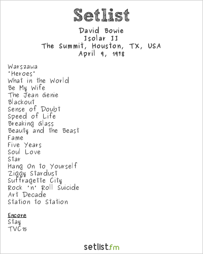 David Bowie Setlist The Summit, Houston, TX, USA 1978, Isolar II