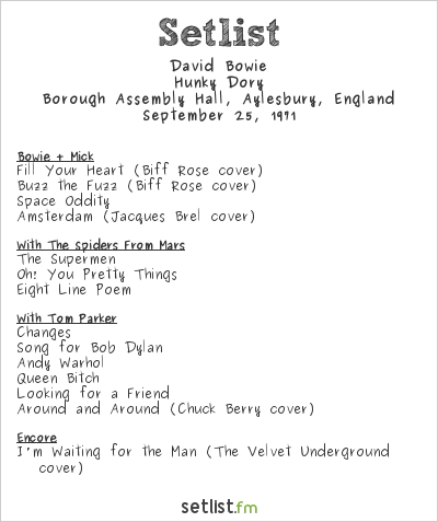 David Bowie Setlist Borough Assembly Hall, Aylesbury, England 1971, Hunky Dory