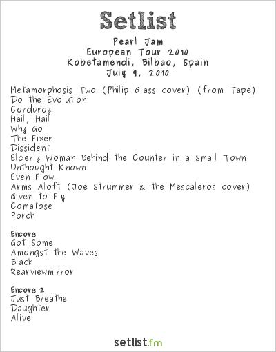 Pearl Jam Setlist Bilbao BBK Live 2010, European Tour 2010