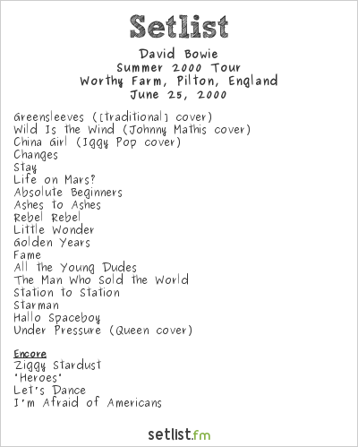 David Bowie Setlist Glastonbury Festival 2000 2000, The Hours... Tour