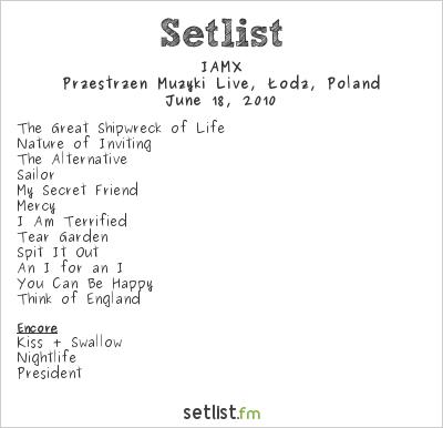 IAMX Setlist Przestrzen Muzyki Live, Lodz, Poland 2010