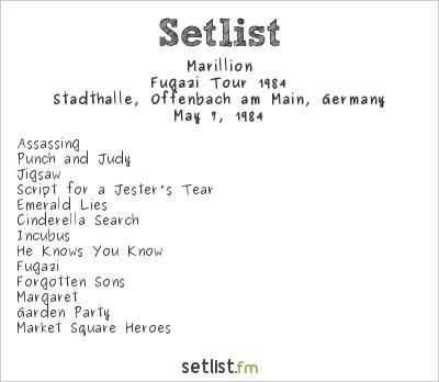 Marillion Setlist Stadthalle, Offenbach, Germany, Fugazi Tour 1984