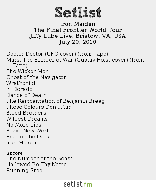 Iron Maiden Setlist Jiffy Lube Live, Bristow, VA, USA 2010, The Final Frontier Tour