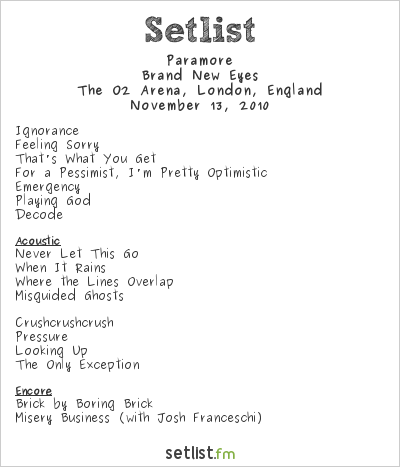 Words by Laura: Rock 'N' Rolling Pins Paramore Setlist