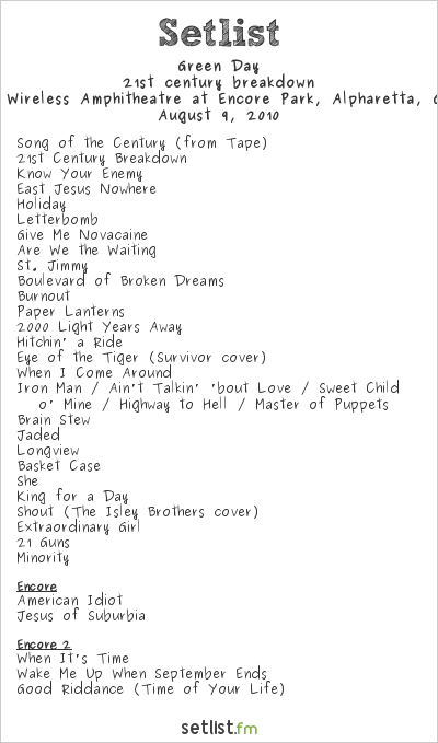 Green Day Setlist Verizon Wireless Amphitheatre, Alpharetta, GA, USA 2010, 21st Century Breakdown World Tour