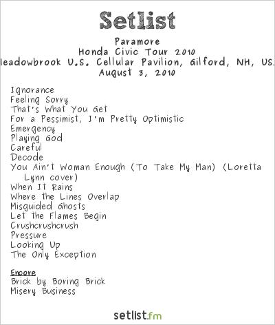 Paramore Setlist Meadowbrook U.S. Cellular Pavilion ... Paramore Setlist