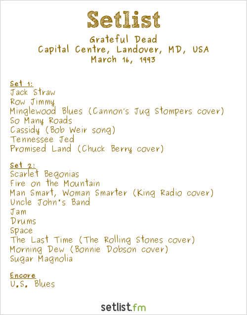 Grateful Dead Setlist Capital Centre, Landover, MD, USA 1993