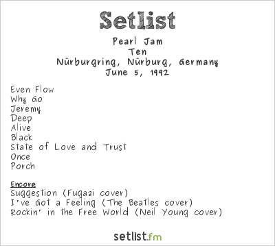 Pearl Jam Setlist Rock am Ring 1992 1992, Ten