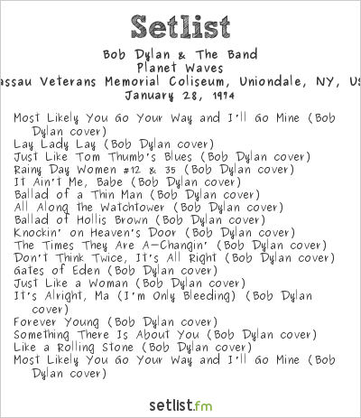 Bob Dylan & The Band Setlist Nassau Veterans Memorial Coliseum, Uniondale, NY, USA 1974, Planet Waves