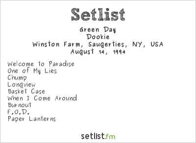 Green Day Setlist Woodstock '94 1994