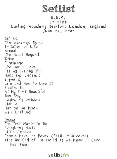 R.E.M. Setlist Carling Academy Brixton, London, England 2003, In Time