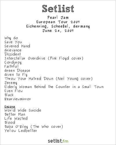 Pearl Jam Setlist Hurricane Festival 2007, European Tour 2007
