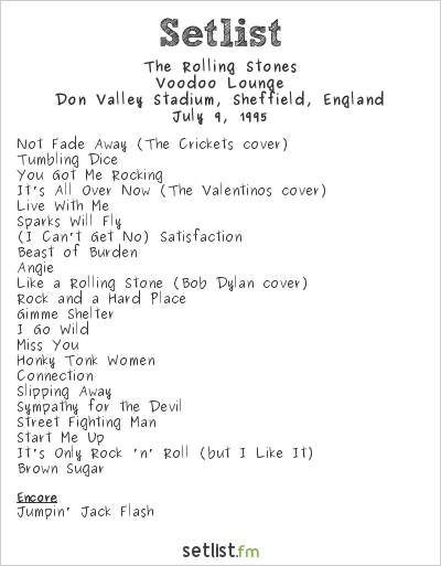 The Rolling Stones Setlist Don Valley Stadium, Sheffield, England 1995, Voodoo Lounge