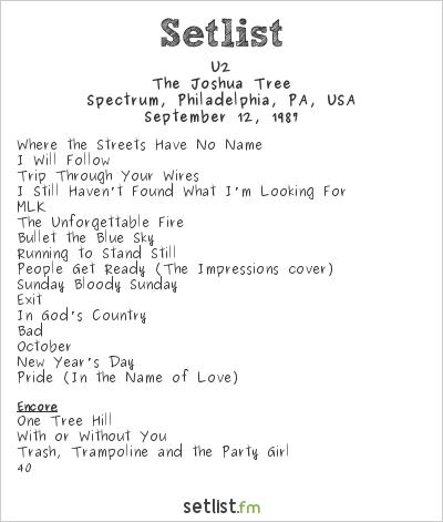 U2 Setlist Spectrum, Philadelphia, PA, USA 1987, The Joshua Tree
