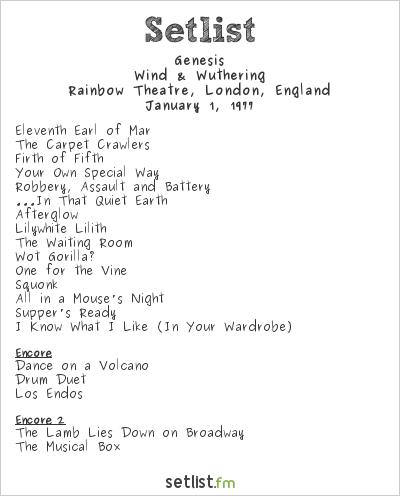 Genesis Setlist Rainbow Theatre, London, England 1977, Wind