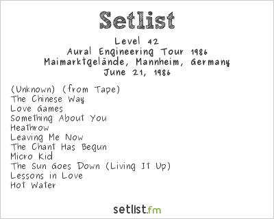 Level 42 Setlist SWF3 Open Air 1986 1986
