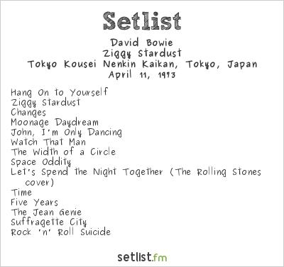 David Bowie Setlist Shinjuku Koseinenkin Kaikan, Tokyo, Japan 1973, Ziggy Stardust Tour