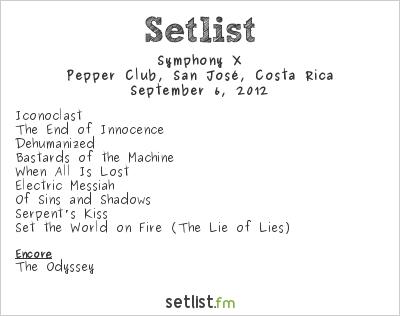 Symphony X Setlist Pepper's Club, San José, Costa Rica 2012
