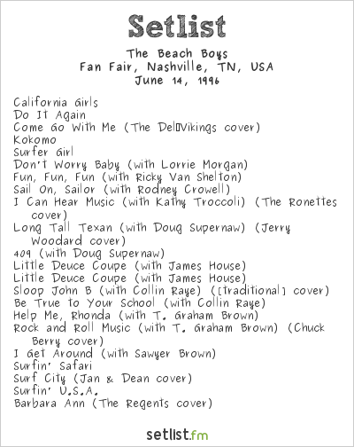 The Beach Boys Setlist Fan Fair, Nashville, TN, USA 1996