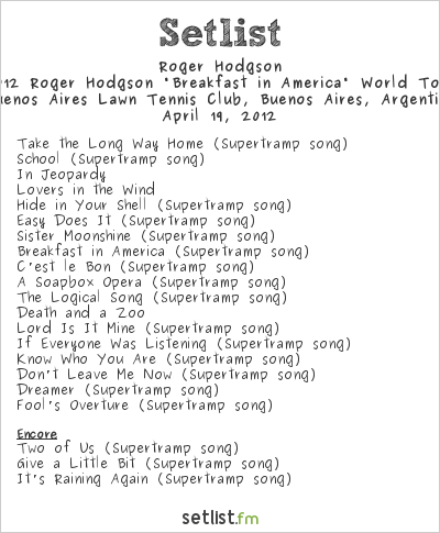 "Roger Hodgson Setlist Bs As Lawn Tennis Club, Buenos Aires, Argentina 2012, 2012 Roger Hodgson ""Breakfast in America"" World Tour"
