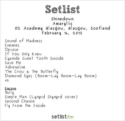 Shinedown Setlist O2 Academy Glasgow, Glasgow, Scotland, Amaryllis Europe Tour 2012