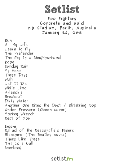Foo Fighters Setlist nib Stadium, Perth, Australia 2018, Concrete and Gold
