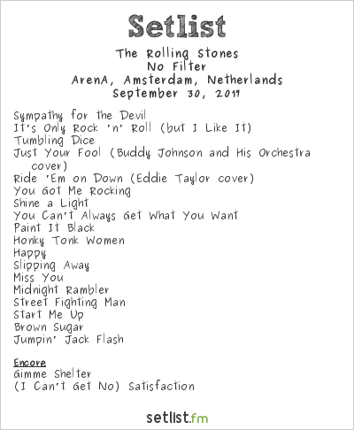 The Rolling Stones at ArenA, Amsterdam, Netherlands Setlist