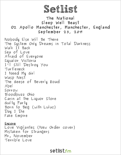 The National Setlist O2 Apollo Manchester, Manchester, England 2017, Sleep Well Beast