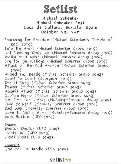 Michael Schenker Setlist Casa De Cultura, Burlata, Spain 2017, Michael Schenker Fest