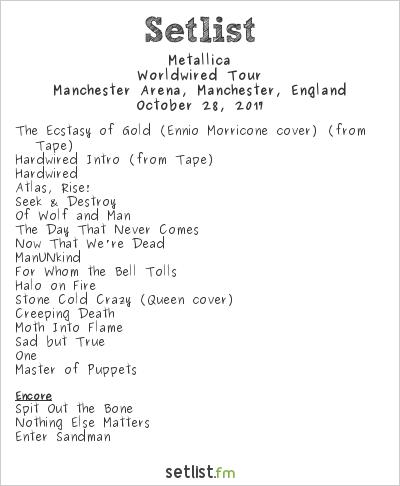 Metallica Setlist Manchester Arena, Manchester, England 2017, WorldWired Tour
