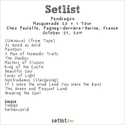 Pendragon Setlist Chez Paulette, Pagney-derrière-Barine, France 2017, Masquerade 20 + 1 Tour