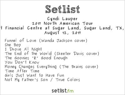 Cyndi Lauper Setlist Smart Financial Centre at Sugar Land, Sugar Land, TX, USA, Rod Stewart / Cyndi Lauper 2017
