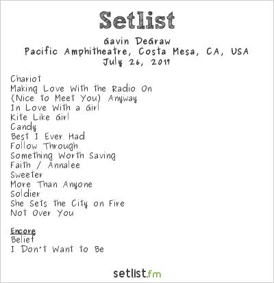 Gavin DeGraw Setlist Pacific Amphitheater, Costa Mesa, CA, USA 2017