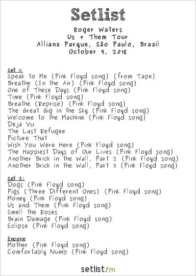 Roger Waters Setlist Allianz Parque, São Paulo, Brazil 2018, Us + Them Tour