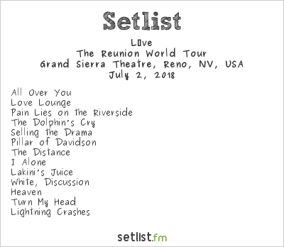 Live Setlist Grand Sierra Theatre, Reno, NV, USA 2018, The Reunion World Tour