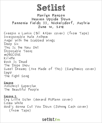 Marilyn Manson Setlist Nova Rock 2018 2018, Heaven Upside Down