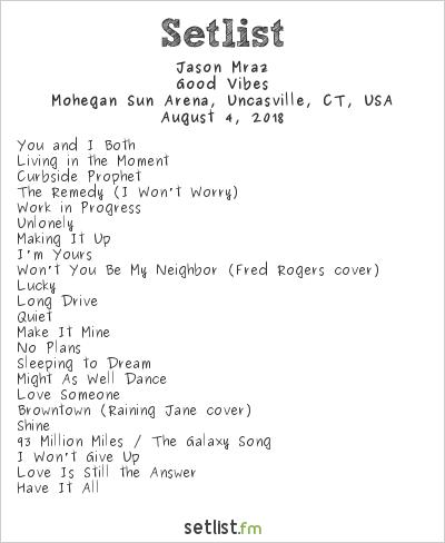 Jason Mraz Setlist Mohegan Sun Arena, Uncasville, CT, USA 2018