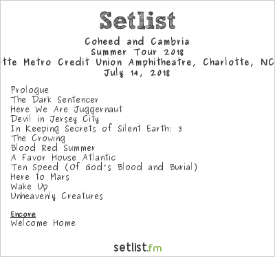 Coheed and Cambria Setlist Charlotte Metro Credit Union Amphitheatre, Charlotte, NC, USA, Summer Tour 2018