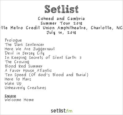 Coheed and Cambria Setlist Charlotte Metro Credit Union Amphitheatre, Charlotte, NC, USA, Summer Tour 2018